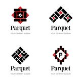 Πρότυπο λογότυπων παρκέ Πρότυπο λογότυπων δαπέδων Αφηρημένα πρότυπα σχεδίου λογότυπων για την επιχείρηση παρκέ, δαπεδώνοντας επιχ διανυσματική απεικόνιση