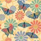 πρότυπο λουλουδιών πεταλούδων Στοκ Εικόνες