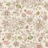 πρότυπο λουλουδιών πουλιών άνευ ραφής Στοκ Φωτογραφία