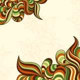 Πρότυπο με τα αφηρημένα κυματιστά ριγωτά φύλλα Στοκ Εικόνες