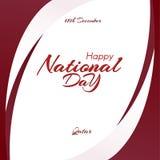 Πρότυπο με τα χρώματα της εθνικής σημαίας του Κατάρ με το κείμενο της ευτυχούς εθνικής μέρας ελεύθερη απεικόνιση δικαιώματος