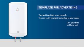 Πρότυπο με την άσπρη δεξαμενή για τη θέρμανση νερού, διαφήμιση στο οριζόντιο υπόβαθρο, τρισδιάστατη απεικόνιση ελεύθερη απεικόνιση δικαιώματος