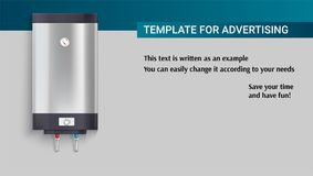 Πρότυπο με τη δεξαμενή για τη θέρμανση νερού, διαφήμιση διανυσματική απεικόνιση
