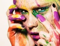 Πρότυπο με το δημιουργικό makeup Στοκ Φωτογραφίες