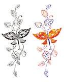 Πρότυπο μιας πεταλούδας και των φύλλων Στοκ Φωτογραφία