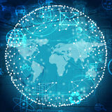 Πρότυπο μορίων με τον παγκόσμιο χάρτη Στοκ φωτογραφίες με δικαίωμα ελεύθερης χρήσης