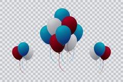 Πρότυπο μπαλονιών ηλίου με το διαφανές υπόβαθρο Στοκ Εικόνες