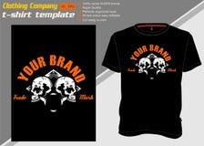Πρότυπο μπλουζών με δύο το κρανίο, διάνυσμα σχεδίων χεριών διανυσματική απεικόνιση