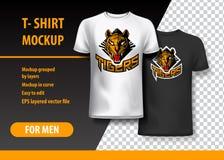 Πρότυπο μπλουζών με τη φράση τιγρών σε δύο χρώματα Που βάζουν σε στρώσεις πρότυπο και editable ελεύθερη απεικόνιση δικαιώματος