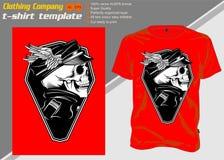Πρότυπο μπλουζών με τον καπετάνιο κρανίων, διάνυσμα σχεδίων χεριών διανυσματική απεικόνιση