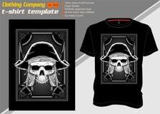 Πρότυπο μπλουζών με τον πειρατή κρανίων, διάνυσμα σχεδίων χεριών διανυσματική απεικόνιση