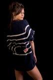 Πρότυπο μόδας που απομονώνεται στο Μαύρο Στοκ Εικόνα