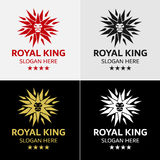 Πρότυπο λογότυπων αστεριών βασιλιάδων λιονταριών Στοκ εικόνα με δικαίωμα ελεύθερης χρήσης