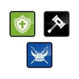Πρότυπο λογότυπων Βίκινγκ με το επίπεδο χρώμα Απεικόνιση αποθεμάτων