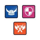 Πρότυπο λογότυπων Βίκινγκ με το επίπεδο χρώμα Διανυσματική απεικόνιση