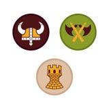 Πρότυπο λογότυπων Βίκινγκ με το επίπεδο χρώμα Ελεύθερη απεικόνιση δικαιώματος