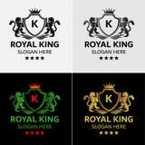 Πρότυπο λογότυπων βασιλιάδων λιονταριών Στοκ εικόνες με δικαίωμα ελεύθερης χρήσης