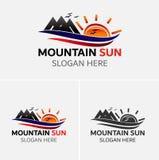 Πρότυπο λογότυπων εικονιδίων ήλιων βουνών Στοκ φωτογραφία με δικαίωμα ελεύθερης χρήσης