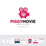 Πρότυπο λογότυπων επιχειρησιακής επιχείρησης κινηματογράφων Piggy ελεύθερη απεικόνιση δικαιώματος
