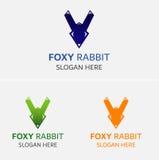 Πρότυπο λογότυπων κουνελιών αλεπούδων Στοκ Εικόνα