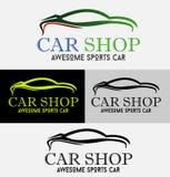 Πρότυπο λογότυπων σκιαγραφιών καταστημάτων αυτοκινήτων Στοκ Εικόνες