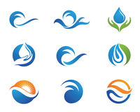 Πρότυπο λογότυπων σταγονίδιων νερού διανυσματική απεικόνιση