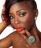 Πρότυπο ομορφιάς αφροαμερικάνων Στοκ Φωτογραφία