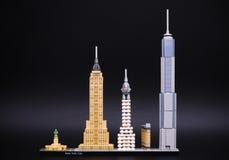 Πρότυπο οριζόντων αρχιτεκτονικής Lego - πόλη της Νέας Υόρκης Στοκ Εικόνες