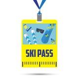 Πρότυπο περασμάτων σκι με το γραμμωτό κώδικα Μπλε κορδέλλα κατάλογος για τις χειμερινές διακοπές Επίπεδο σχέδιο Στοκ Εικόνες