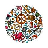 Πρότυπο περιπετειών θάλασσας Θαλάσσια συρμένα χέρι διάνυσμα και αντικείμενα Διανυσματική απεικόνιση ύφους Doodle διανυσματική απεικόνιση