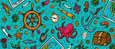 Πρότυπο περιπετειών θάλασσας Θαλάσσια συρμένα χέρι διάνυσμα και αντικείμενα Διανυσματική απεικόνιση ύφους Doodle ελεύθερη απεικόνιση δικαιώματος