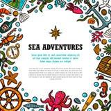Πρότυπο περιπετειών θάλασσας Θαλάσσια συρμένα χέρι διανυσματικά αντικείμενα Διανυσματική απεικόνιση ύφους Doodle ελεύθερη απεικόνιση δικαιώματος