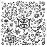 Πρότυπο περιπετειών θάλασσας Θαλάσσια συρμένα χέρι διανυσματικά αντικείμενα Διανυσματική απεικόνιση ύφους Doodle διανυσματική απεικόνιση
