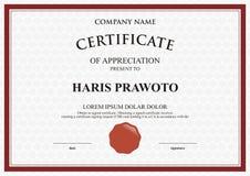 Πρότυπο πιστοποιητικών Κατάλληλος για την επιχείρησή σας Βελτιώστε τη διαφάνειά σας Επαγγελματικό και αποτελεσματικό λογότυπο Χρώ Στοκ εικόνα με δικαίωμα ελεύθερης χρήσης