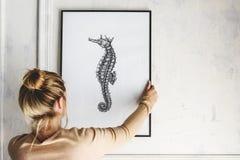 Πρότυπο πλαισίων εικόνων με ένα σχέδιο seahorse στοκ φωτογραφίες