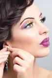 Πρότυπο πορτρέτο Brunette. αποτελέστε, ψεύτικα eyelashes Στοκ Εικόνες
