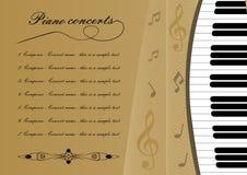 Πρότυπο προγράμματος συναυλίας πιάνων με αποκόπτοντας του πληκτρολογ ελεύθερη απεικόνιση δικαιώματος