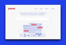 Πρότυπο προτύπων αρχικών σελίδων ιστοχώρου επιχείρησης ακίνητων περιουσιών επίσης corel σύρετε το διάνυσμα απεικόνισης Απεικόνιση αποθεμάτων