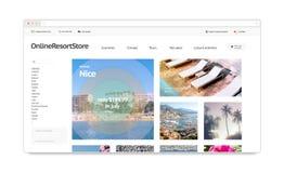 Πρότυπο προτύπων ιστοχώρου θερέτρου ταξιδιού webstore που απομονώνεται, στοκ φωτογραφία