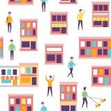 πρότυπο πόλεων άνευ ραφής Διανυσματικοί αστικοί κτήρια και άνθρωποι Στοκ Εικόνες