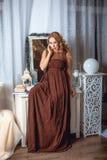 Πρότυπο σε ένα καφετί φόρεμα Στοκ Φωτογραφία