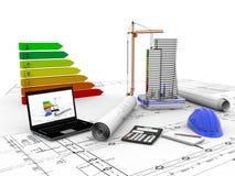 Πρότυπο σπίτι κάτω από την κατασκευή, υπολογιστής, κράνος, τρισδιάστατη απεικόνιση διανυσματική απεικόνιση