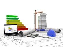 Πρότυπο σπίτι κάτω από την κατασκευή, υπολογιστής, κράνος, τρισδιάστατη απεικόνιση Στοκ φωτογραφία με δικαίωμα ελεύθερης χρήσης