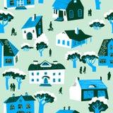 πρότυπο σπιτιών άνευ ραφής Χαριτωμένη πόλης διανυσματική απεικόνιση Αρχιεπισκόπων διανυσματική απεικόνιση