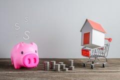Πρότυπο σπιτιών στο κάρρο αγορών και τη σειρά των χρημάτων νομισμάτων και της piggy απαγόρευσης Στοκ Εικόνες