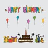 Πρότυπο συνόλων καρτών πρόσκλησης γενεθλίων ελεύθερη απεικόνιση δικαιώματος