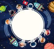 Πρότυπο συνόρων με τους αστροναύτες στο διάστημα διανυσματική απεικόνιση