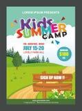 Πρότυπο σχεδίου αφισών εμβλημάτων καλοκαιρινό εκπαιδευτικό κάμπινγκ παιδιών για τα παιδιά απεικόνιση αποθεμάτων
