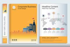 Πρότυπο σχεδίου βιβλίων κάλυψης με τα στοιχεία infographics παρουσίασης απεικόνιση αποθεμάτων
