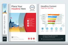 Πρότυπο σχεδίου βιβλίων κάλυψης με τα στοιχεία infographics παρουσίασης ελεύθερη απεικόνιση δικαιώματος
